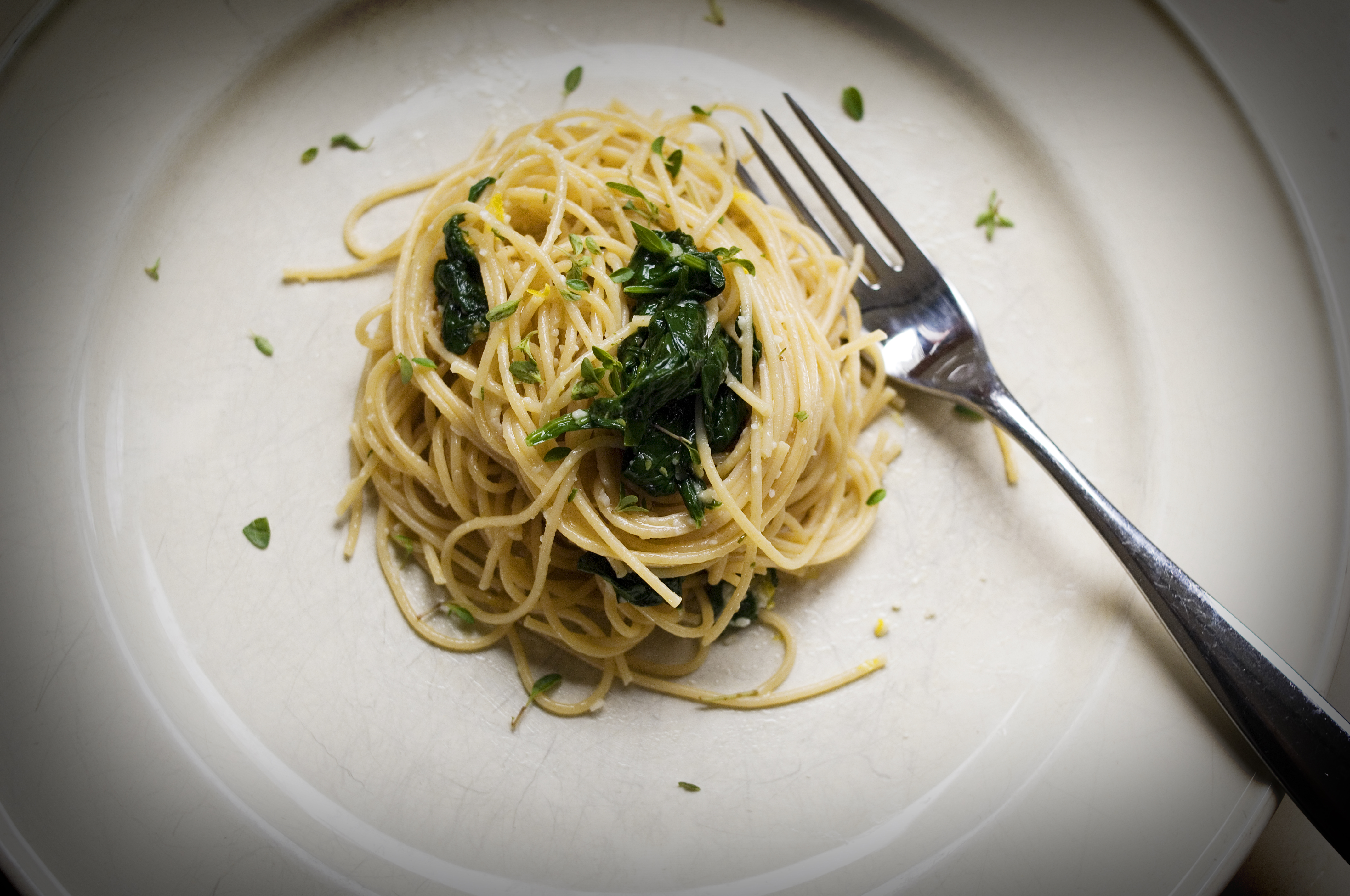 Garlic Butter Pasta with Spinach, Lemon and Parmesan