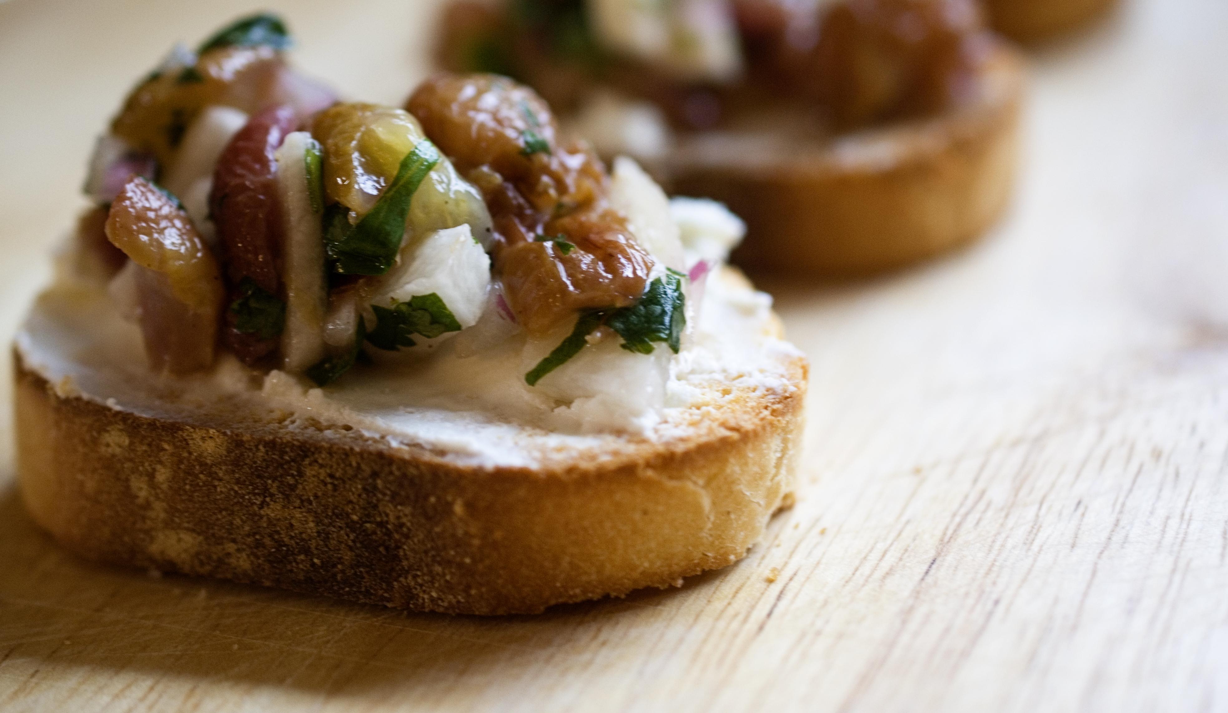 Grape Salsa On Goat Cheese Crostini Recipes — Dishmaps